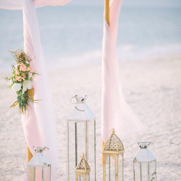Artistic Pink Beach Wedding Decoration